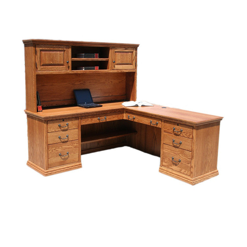 OD-O-T641 and OD-O-T641-H - Traditional Oak Desk and Return with Hutch - Oak For Less® Furniture