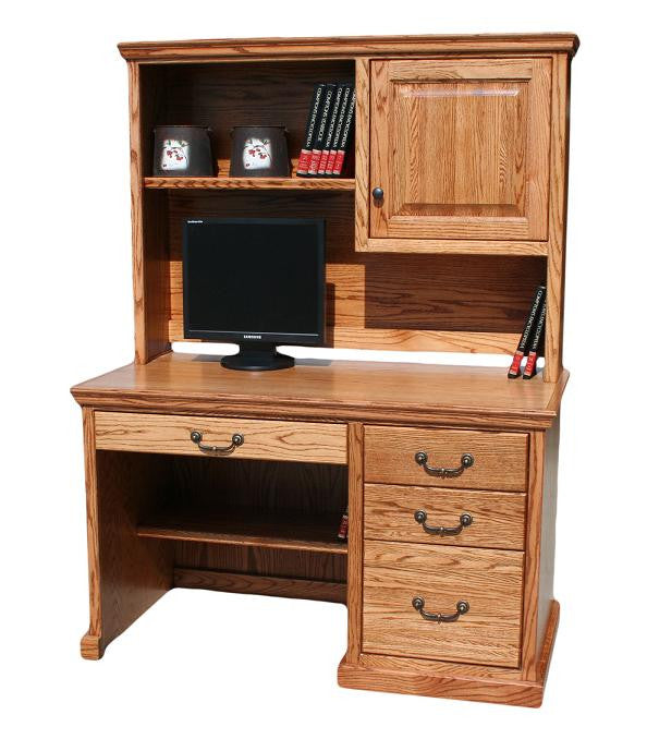 "OD-O-T642 and OD-O-T642-HD - Traditional Oak 50"" Student Desk with Hutch - Oak For Less® Furniture"