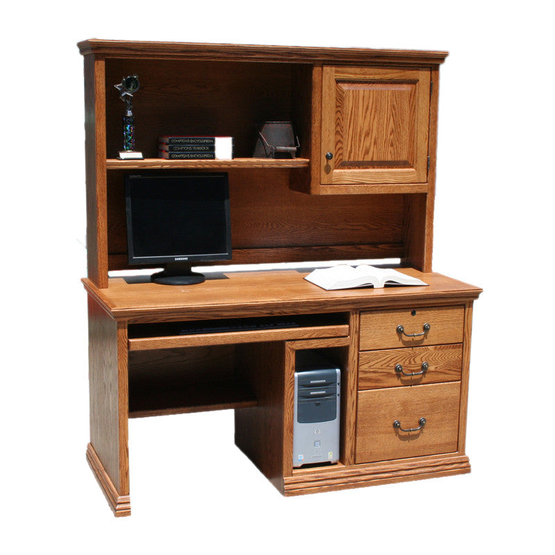 "OD-O-T699 and OD-O-T698-HD - Traditional Oak 57"" Computer Desk with CPU Area with Hutch - Oak For Less® Furniture"