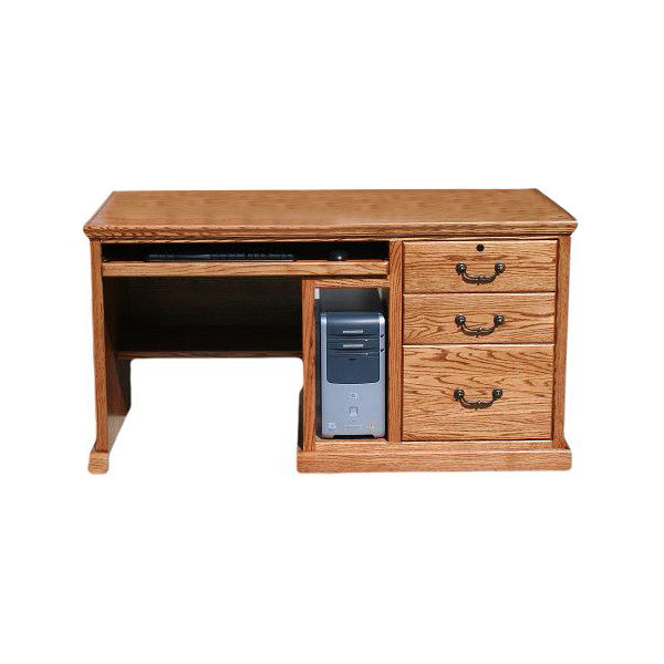 "Traditional Oak 57"" Computer Desk With CPU"