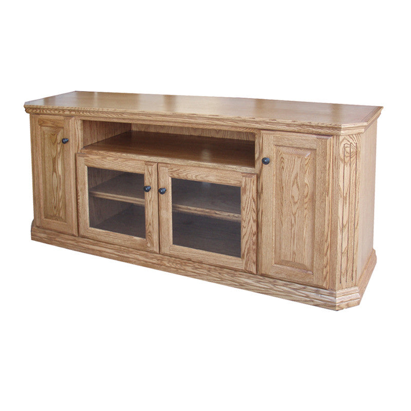 "OD O TF299 Traditional Fluted Oak 65"" TV Stand with Clipped Corners"