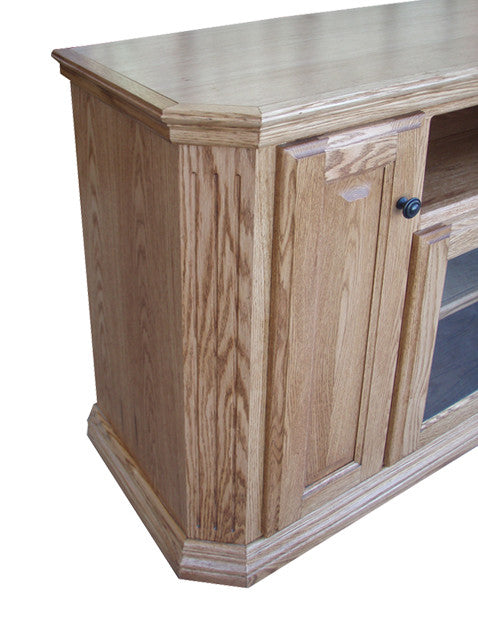 "OD-O-TF298 - Traditional Fluted Oak 56"" TV Stand with Clipped Corners - Oak For Less® Furniture"