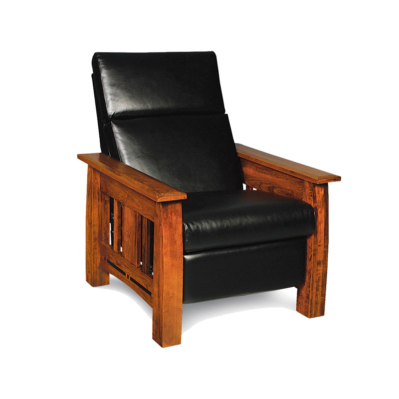 Amish made Arts & Crafts Black Leather Recliner - Cherry wood - Oak For Less® Furniture