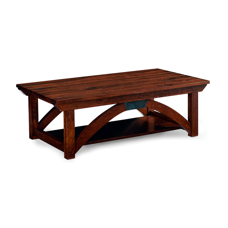 Amish made B & O Railroad© Trestle Bridge Coffee Table in Solid Character Cherry - Oak For Less® Furniture