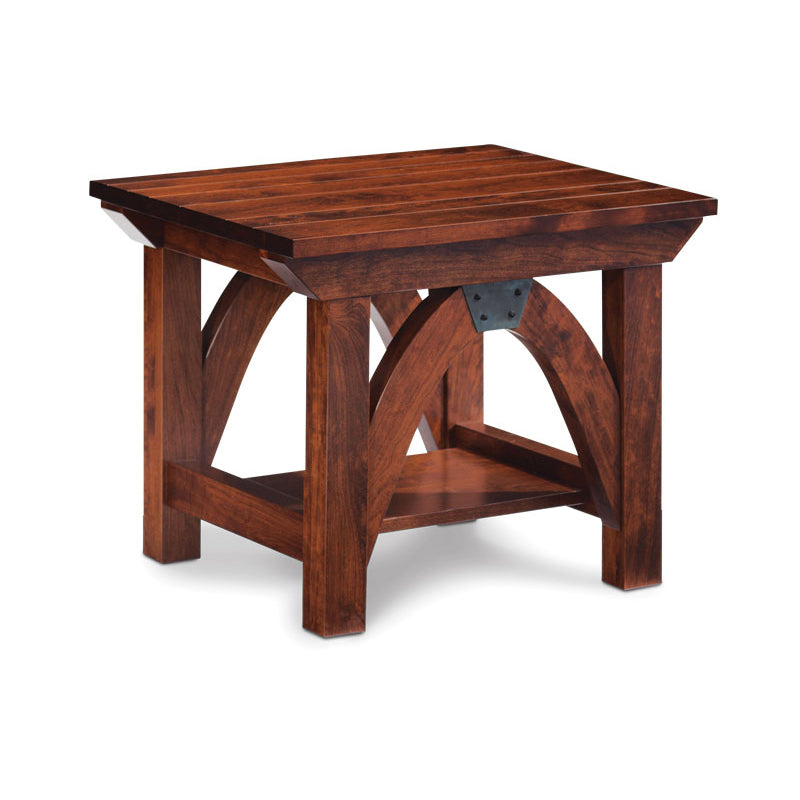 Amish made B & O Railroad© Trestle Bridge End Table in Solid Character Cherry - Oak For Less® Furniture