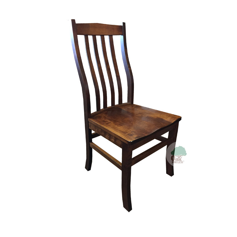 Amish made Clifton Wood Seat Side Chair in Solid Brown Maple - Bourbon finish - Oak For Less® Furniture