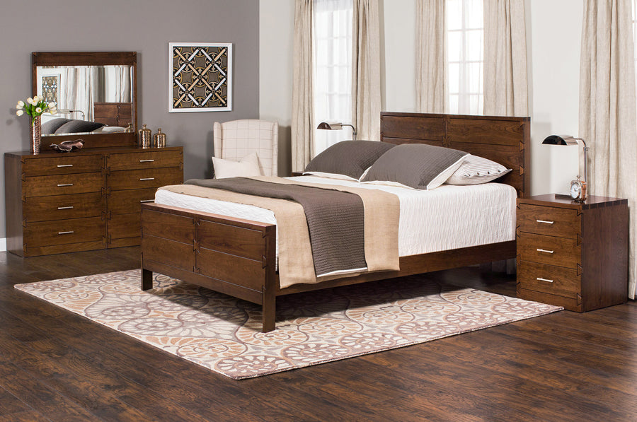 Amish Made Dovetail Solid Cherry 5 Piece Bedroom Suite   Cal King Size