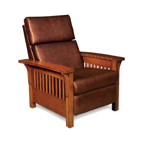 Amish made Favorite Mission Leather Recliner - Quarter Sawn Oak - Oak For Less® Furniture