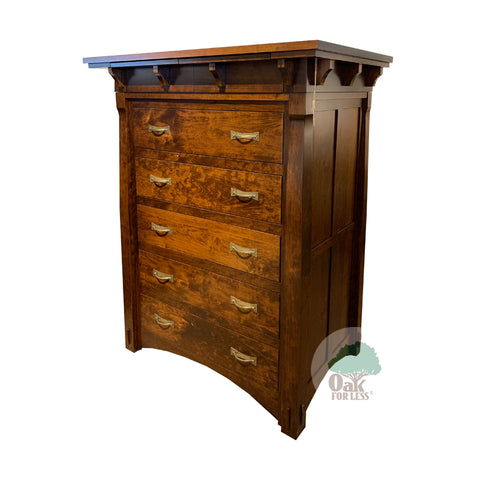 Amish made MaRyan 5 Drawer Chest in Character Cherry - Oak For Less® Furniture