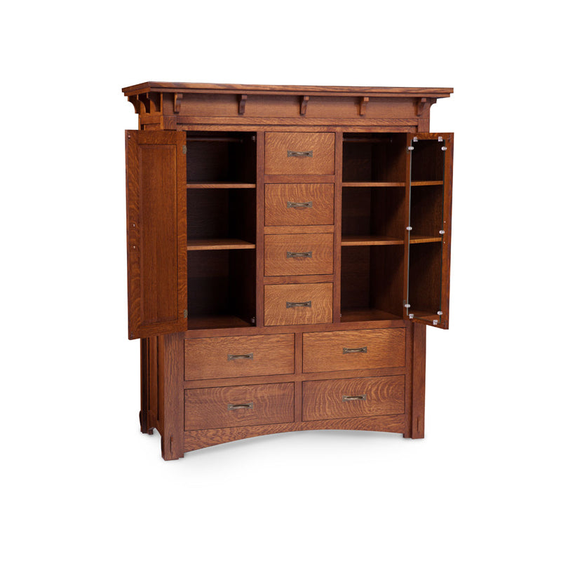 Amish made MaRyan Door Chest Armoire in Quarter Sawn Oak - Oak For Less® Furniture