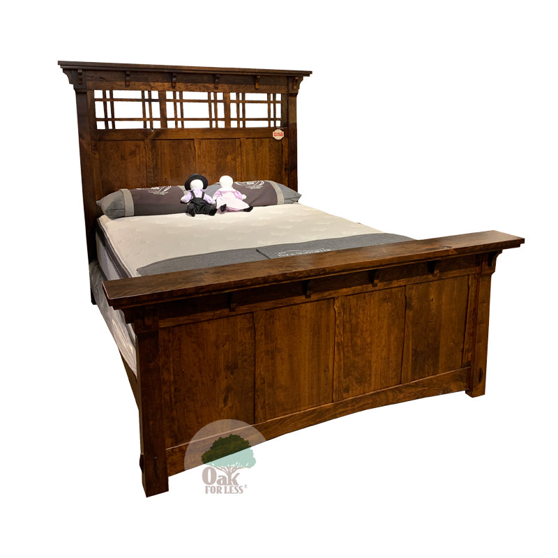 Amish made MaKayla Panel Bed in Character Cherry - Queen size - Oak For Less® Furniture