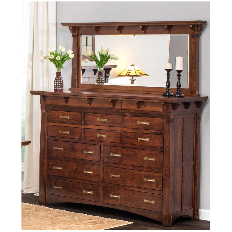 Amish made MaRyan 12 Drawer Bureau with Mirror in Character Cherry - Oak For Less® Furniture