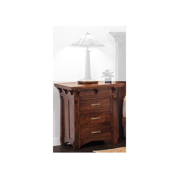 Amish made MaRyan 3 Drawer Nightstand in Character Cherry - Oak For Less® Furniture