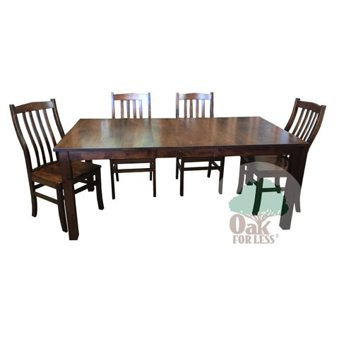 Amish made Sheffield Table and 4 Clifton Side Chairs in Solid Brown Maple - Oak For Less® Furniture