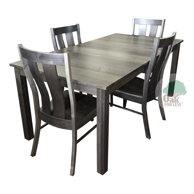 amish sheffield solid brown maple wood table 4 side chairs oak