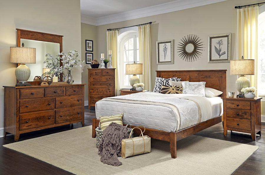 Amish made Shenandoah Solid Character Cherry 6 Piece Bedroom Suite - Full Size - Oak For Less® Furniture