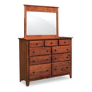 Amish made Shenandoah 9 Drawer Dresser with Mirror - Oak For Less® Furniture