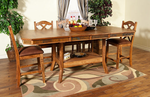 "44"" x 60/75/90"" x 36"" h Sedona Rustic Oak Rectangular Tall Table with Slate Inlays"
