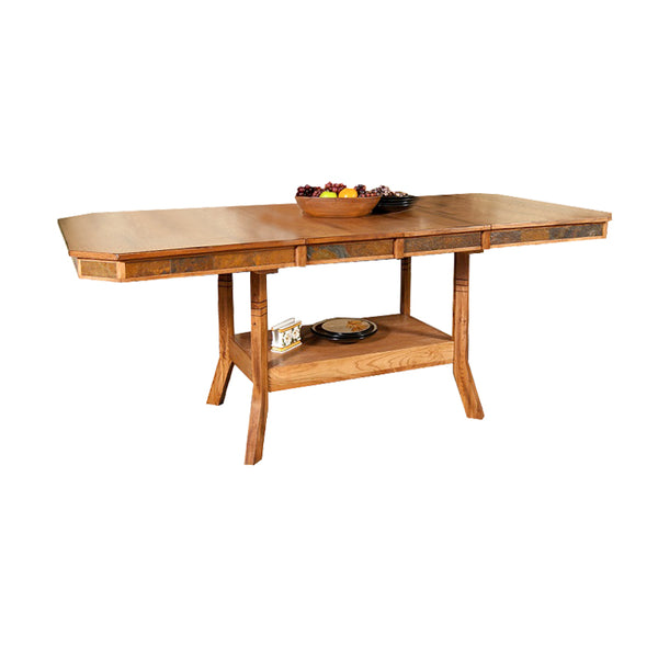"SD-1151RO2 - 44"" x 60/75/90"" Sedona Rustic Rectangular Table with Slate Inlays - Oak For Less® Furniture"