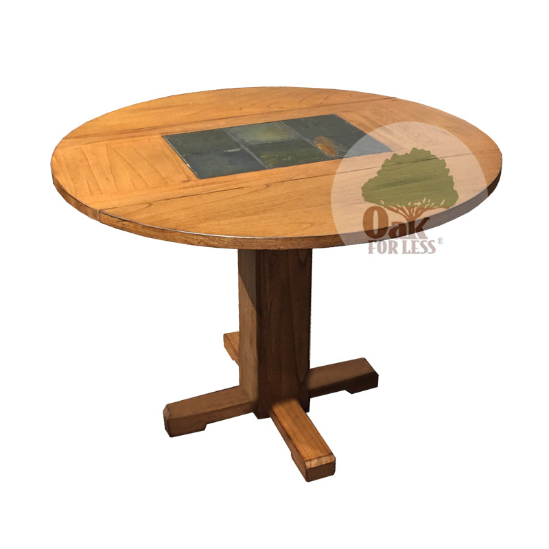 "SD-1223RO2 - 40"" Round Sedona Rustic Drop-Leaf Table with Slate Inlays - newly redesigned top - Oak For Less® Furniture"