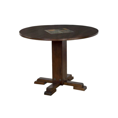 "SD-1233DC - 40"" Round Santa Fe Drop-Leaf Table with Slate Inlays"