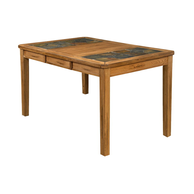 "SD-1274RO - 42"" x 42/60"" x 36"" h Sedona Rustic Oak Tall Table with Natural Slate Inlays - Oak For Less® Furniture"
