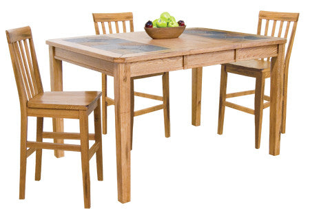 "42"" x 42/60"" x 36"" h Sedona Rustic Oak Tall Table with Natural Slate Inlays"