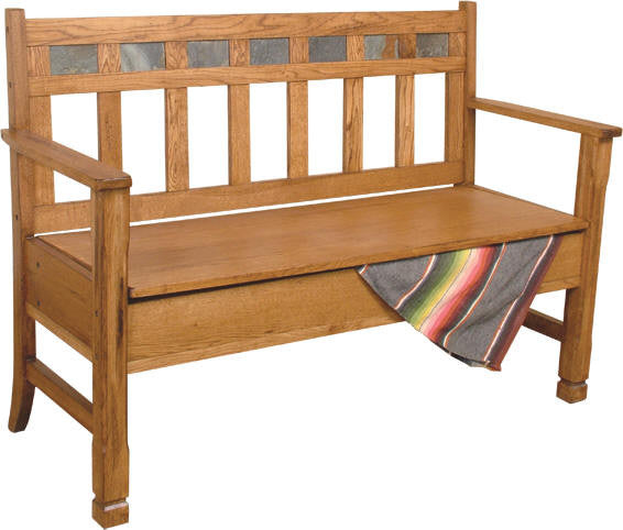 SD-1594RO - Sedona Rustic Oak Bench with Storage and a Back - Oak For Less® Furniture