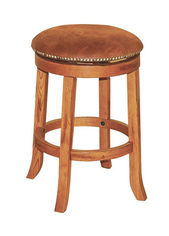 "SD-1782RO - Sedona Rustic Round Swivel Barstool 24"" h - Oak For Less® Furniture"