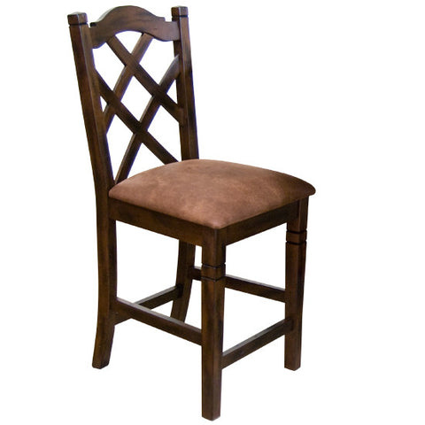 "SD-1848DC - Santa Fe Double-Xback Barstool with Cushion 24"" h - Oak For Less® Furniture"