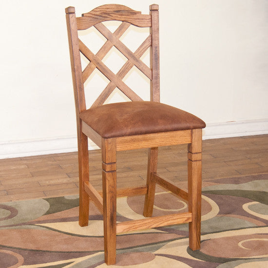 "SD-1848RO2 - Sedona Rustic Double-Xback Barstool 24"" h - Oak For Less® Furniture"