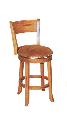 "SD-1882RO - Sedona Rustic Round Swivel Barstool with Back 24"" h - Oak For Less® Furniture"