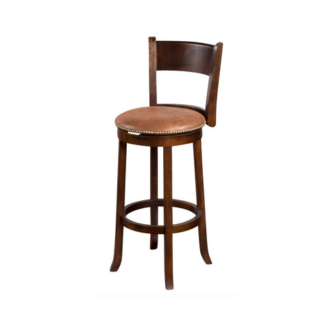 "SD-1883DC - Santa Fe Rustic Round Swivel Barstool with Back 30"" h - Oak For Less® Furniture"