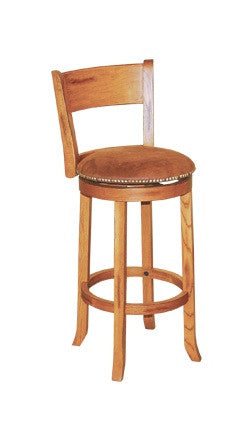 "SD-1883RO - Sedona Rustic Round Swivel Barstool with Back 30"" h - Oak For Less® Furniture"