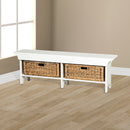 SD-2025RB-S - Short Bench with Storage Baskets - Oak For Less® Furniture