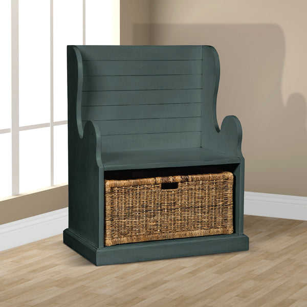 SD-2026LB - Bench with Storage Basket - Oak For Less® Furniture