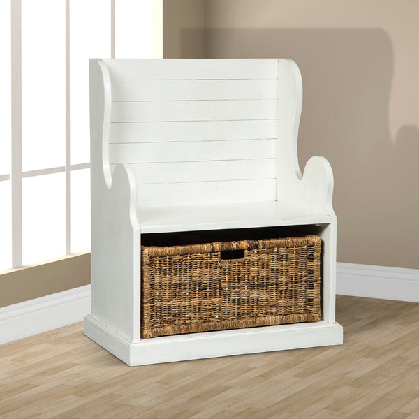 SD-2026RB - Bench with Storage Basket - Oak For Less® Furniture