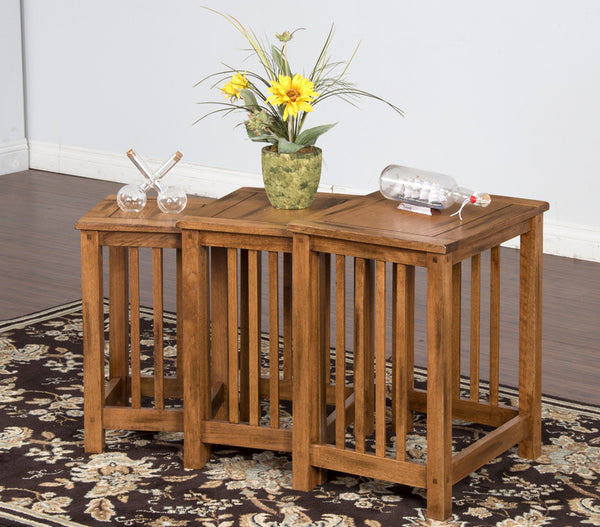 SD-2123RO-2 - Sedona Rustic Oak Nesting Tables 3-piece Set - Oak For Less® Furniture