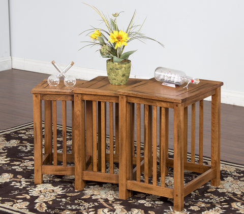 SD-2123RO-2 Sedona Rustic Oak Nesting Tables 3-piece Set