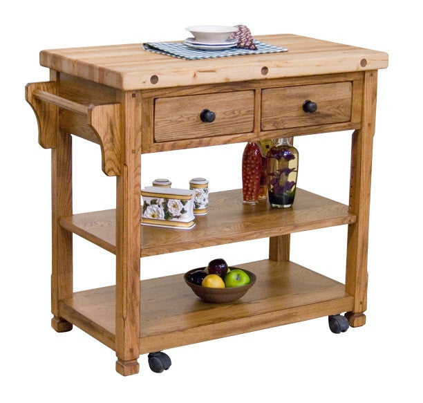 SD-2178RO - Sedona Rustic Oak Butcher Block Kitchen Island w/ Casters - Oak For Less® Furniture