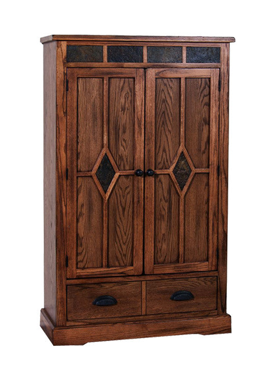 SD-2212RO - Sedona Rustic Oak Pantry with One Drawer - Oak For Less® Furniture