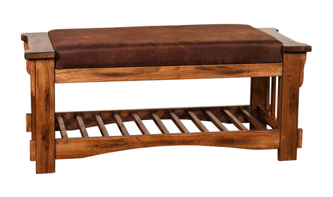 SD-2237RO Sedona Rustic Oak Bench with Cushion Seat