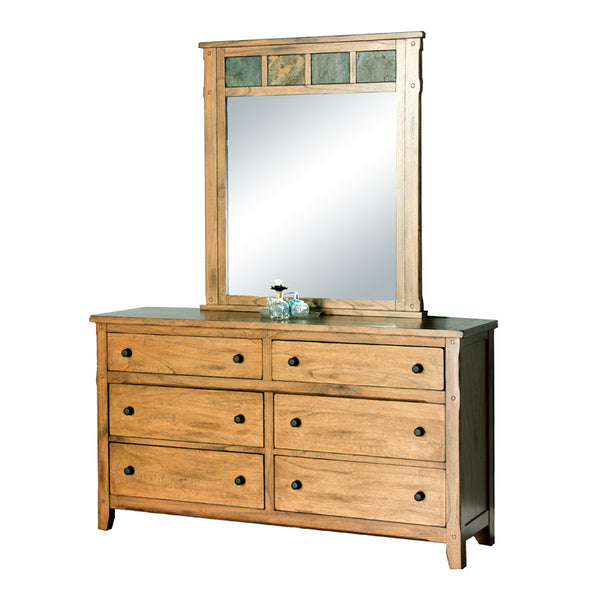 SD-2334RO-D and SD-2334RO-M - Sedona Rustic Petite 6 Drawer Dresser with Mirror - Oak For Less® Furniture