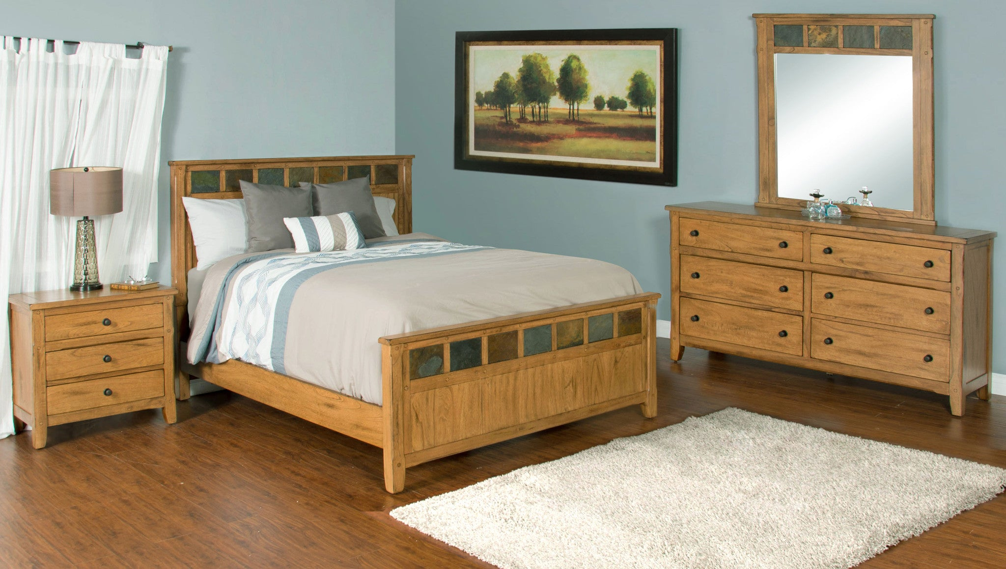 Sedona rustic petite panel bedroom suite queen size for Rustic bedroom furniture suites