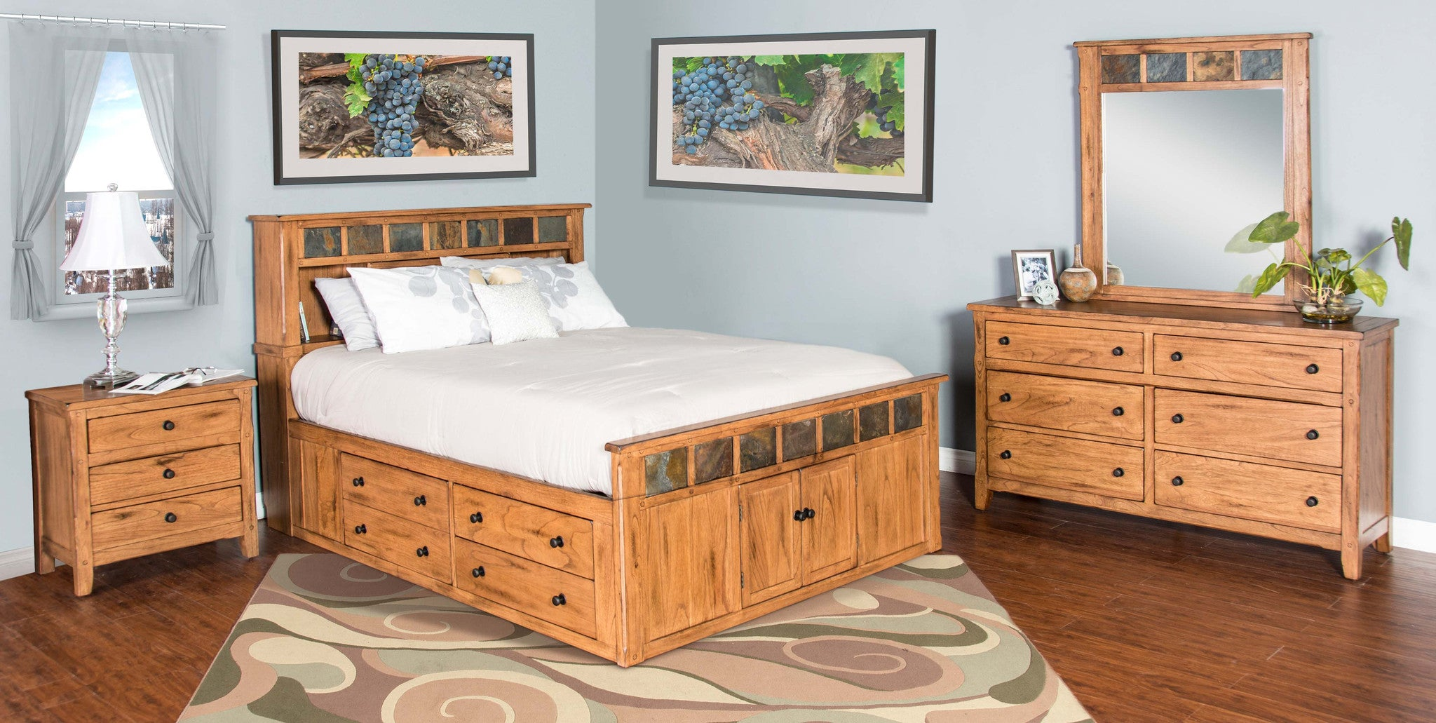 Sedona rustic petite storage bedroom suite e king size for Rustic bedroom furniture suites
