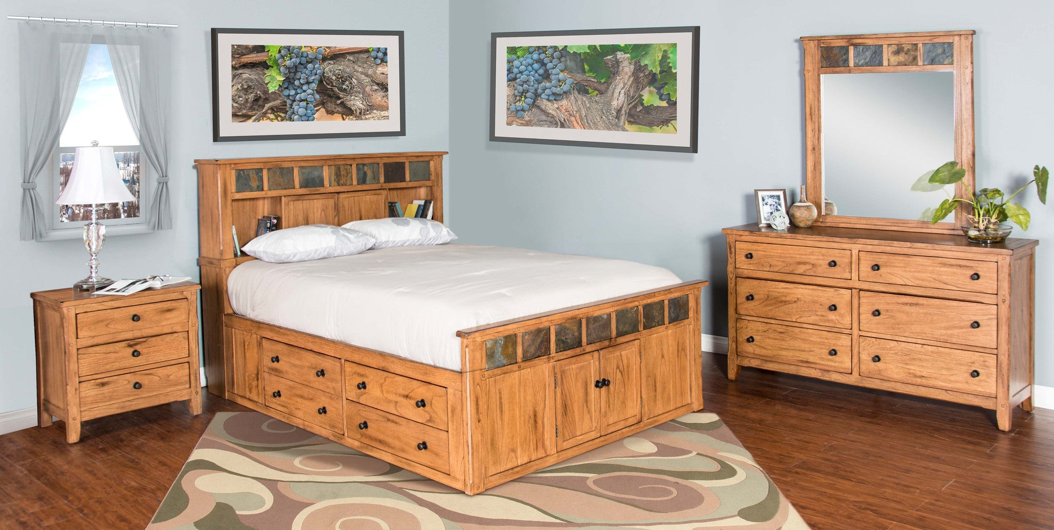 Genial Sedona Rustic Petite Storage Bedroom Suite   E King Size   Oak For Less®  Furniture ...