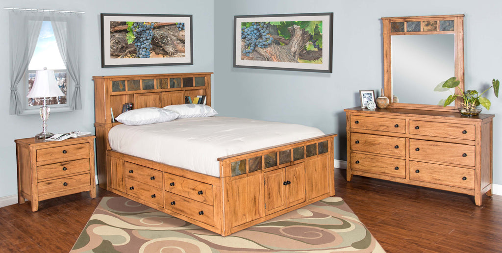 Sedona Rustic Petite Storage Bedroom Suite - Queen Size - Oak For Less® Furniture