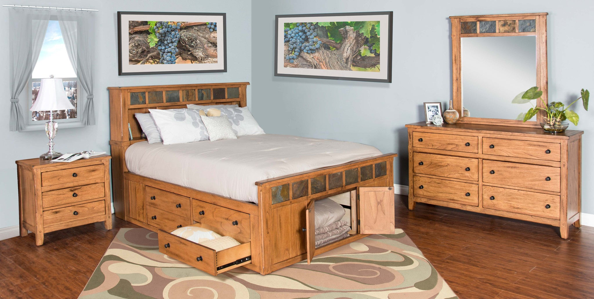 Sedona Rustic Petite Storage Bedroom Suite   Queen Size. Bedroom Suites