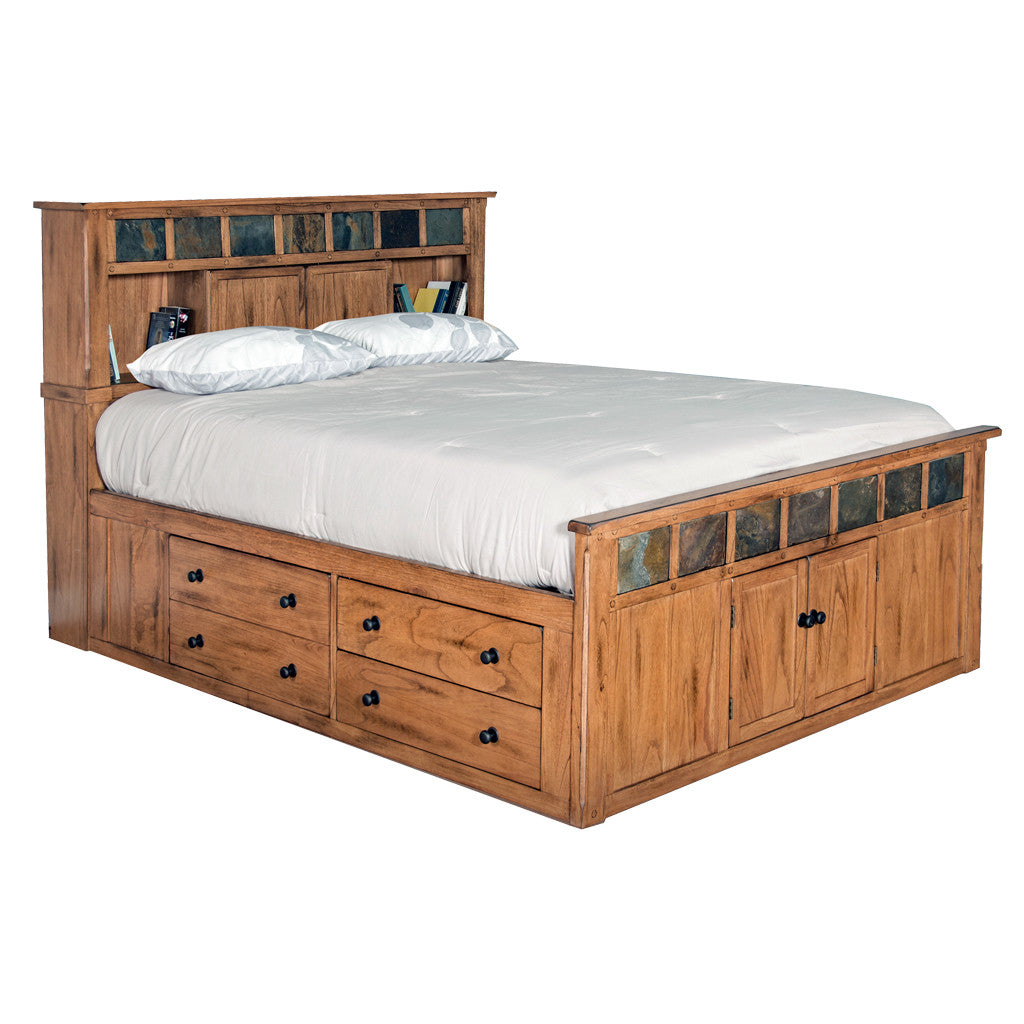 SD-2334RO-SQ - Sedona Rustic Petite Storage Bed - Queen Size - Oak For Less® Furniture