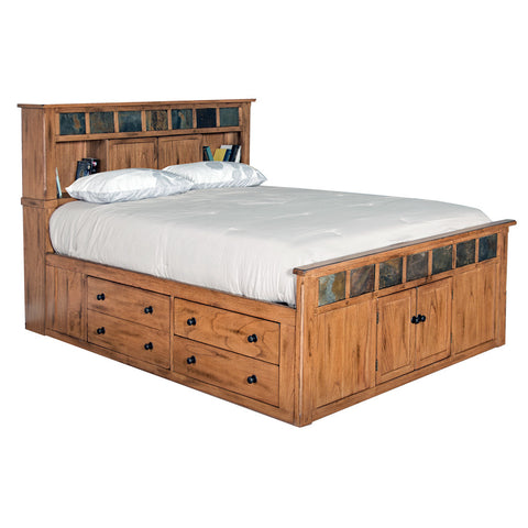 Fd 3022t Traditional Oak Pedestal Bed With 6 Drawers E